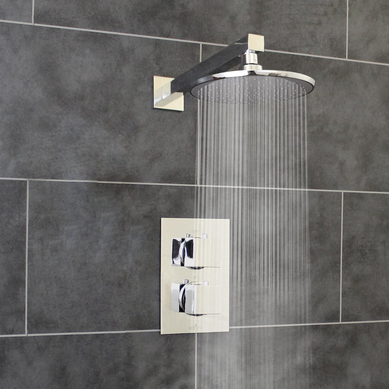 Thermostatic 1 Way Shower Valve 2 Square Handles with Round Overhead ...